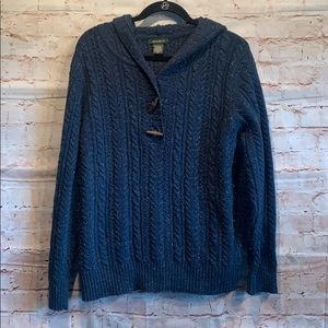 Eddie Bauer XL pullover sweater blue toggles